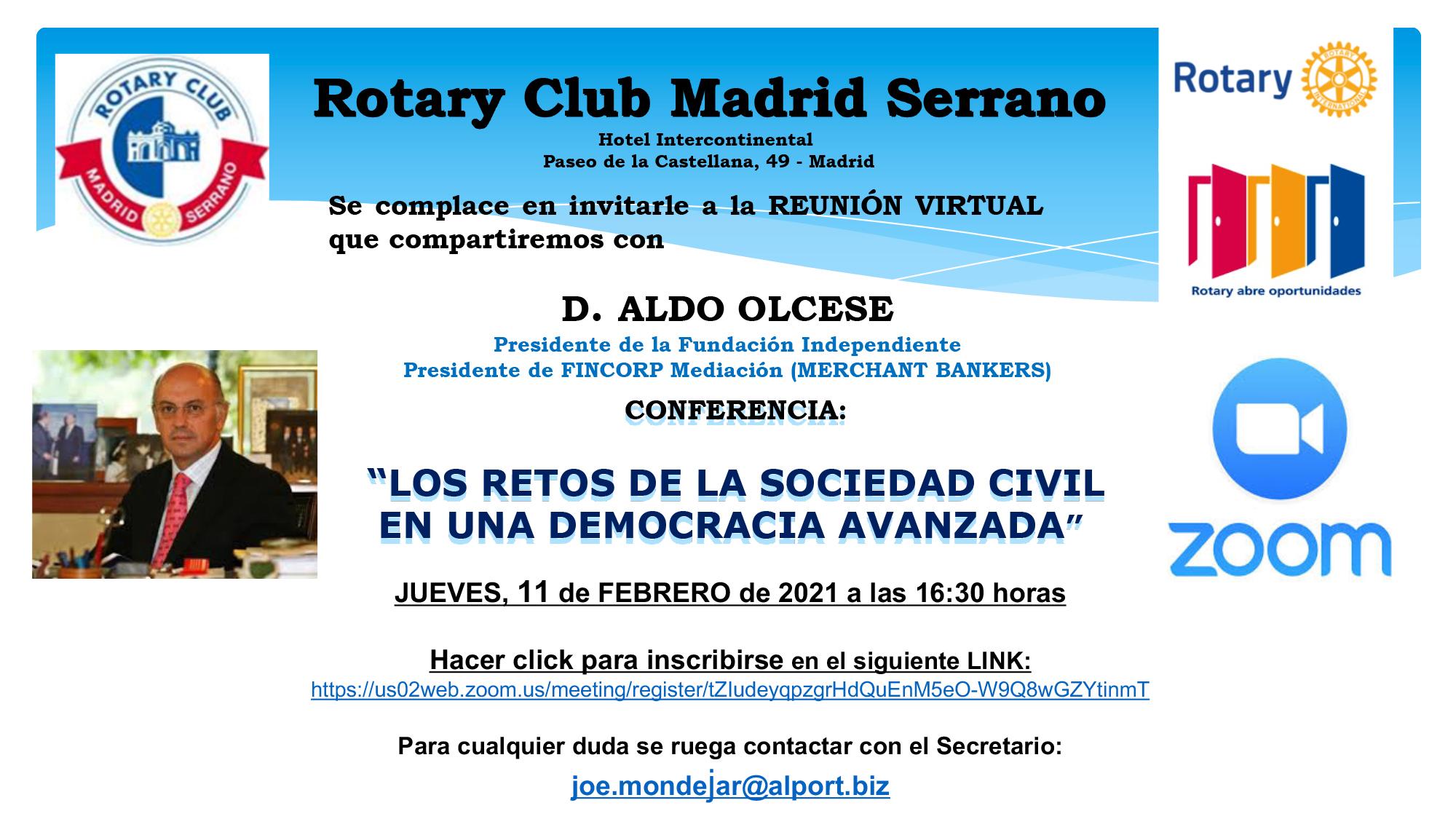 INVITACION REUNIÓN ROTARY CLUB MADRID SERRANO CONFERENCIA D. AL