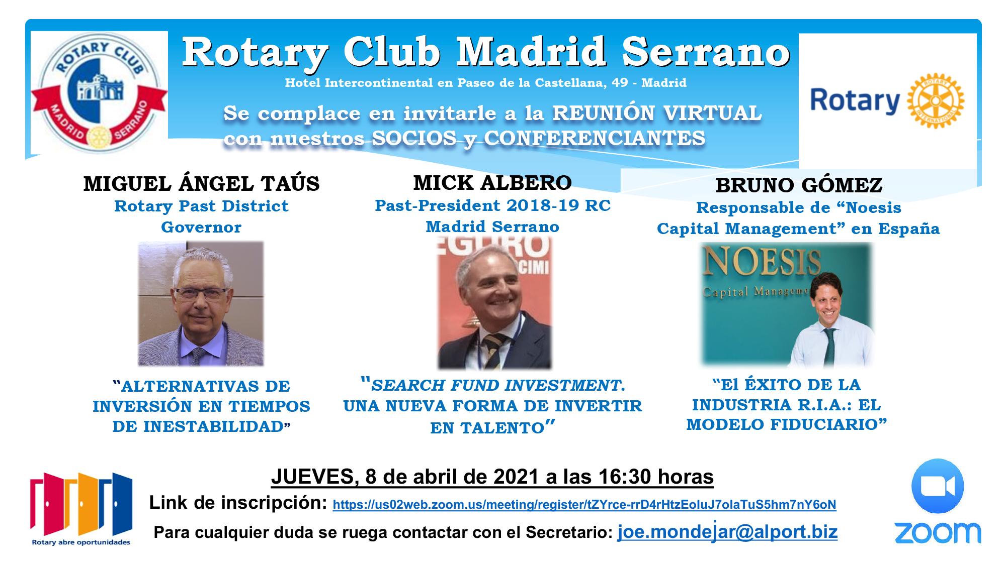INVITACION ROTARY CLUB MADRID SERRANO – TRES CONFERENCIAS DE MIG